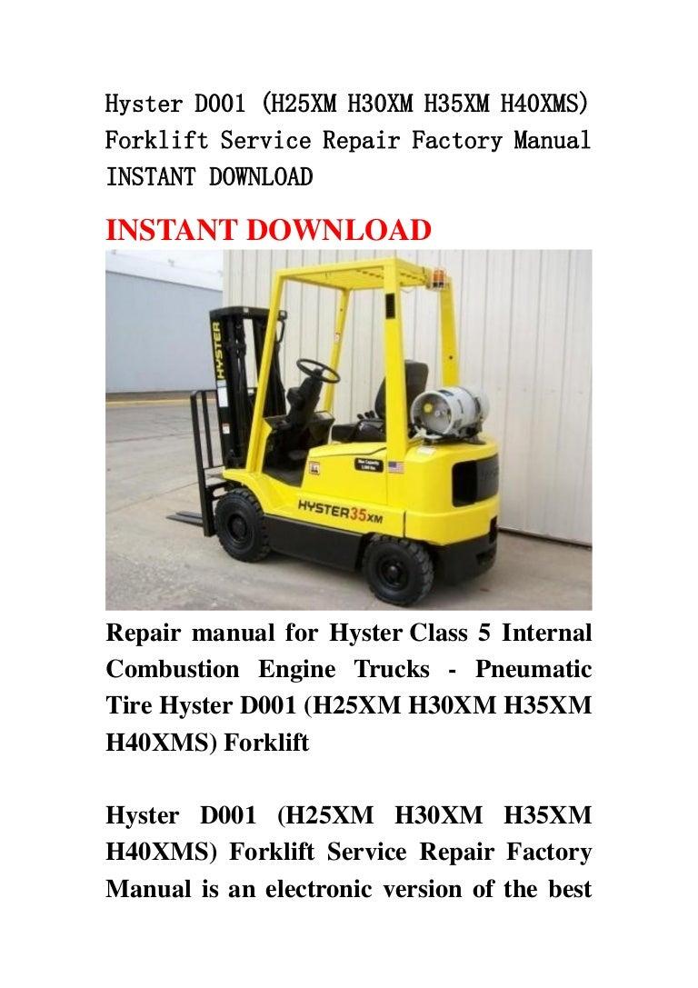 Terrific Hyster D001 H25 Xm H30Xm H35Xm H40Xms Forklift Service Repair Facto Wiring Cloud Hisonuggs Outletorg