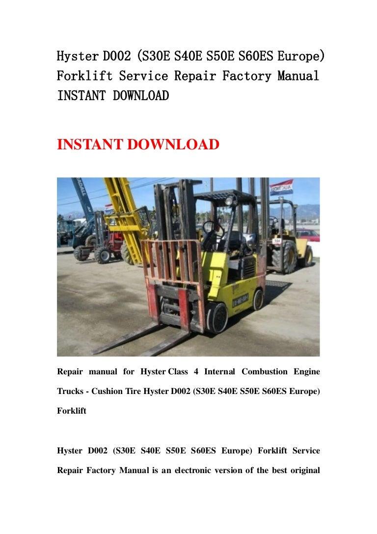 Hyster D002  S30 E S40e S50e S60es Europe  Forklift