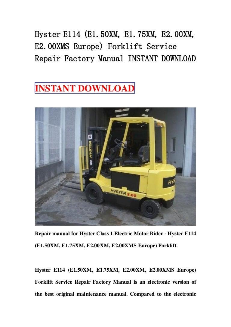 Hyster E114 E150 Xm E175xm E200xm E200xms Europe Forklift Se Wiring Diagram For 50