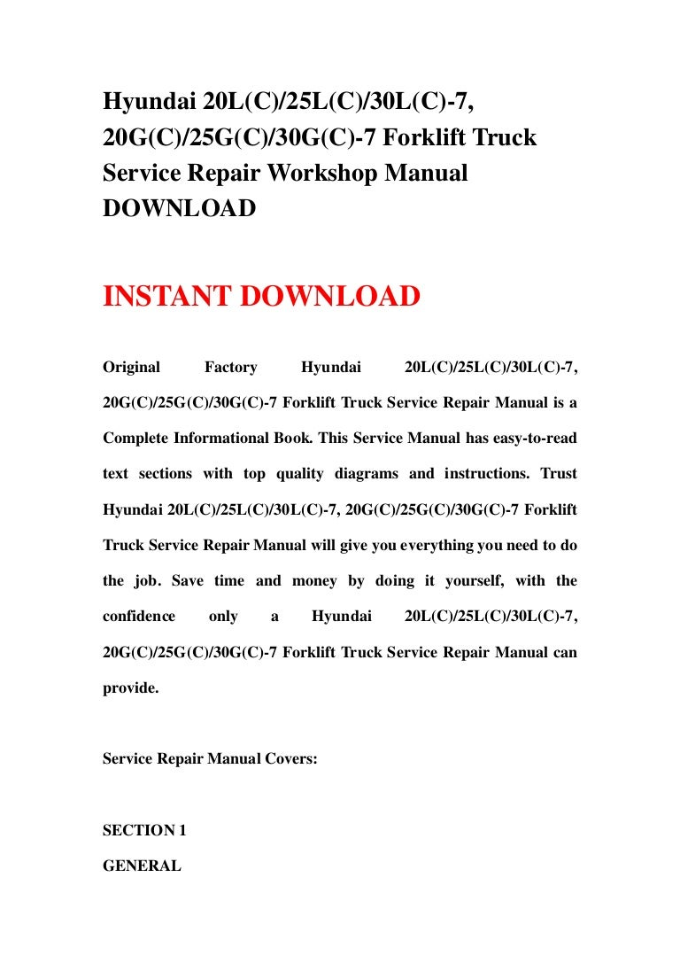 hyundai 35b 7 40b 7 45b 7 50b 7 forklift truck workshop service repair manual download
