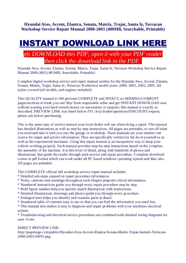 hyundai atos accent elantra sonata matrix trajat santa fe terr rh slideshare net 2002 hyundai accent service manual pdf 2002 hyundai elantra service manual