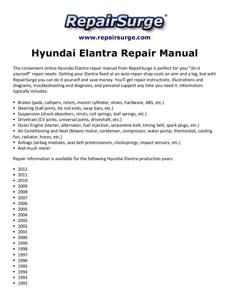 hyundai elantra repair manual 1992 2012 rh slideshare net 2017 Hyundai Elantra 2017 Hyundai Elantra