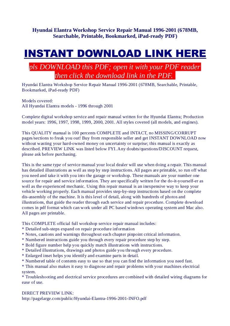 Hyundai Elantra Workshop Service Repair Manual 1996 2001 678 Mb Sea 99 Wiring Diagram