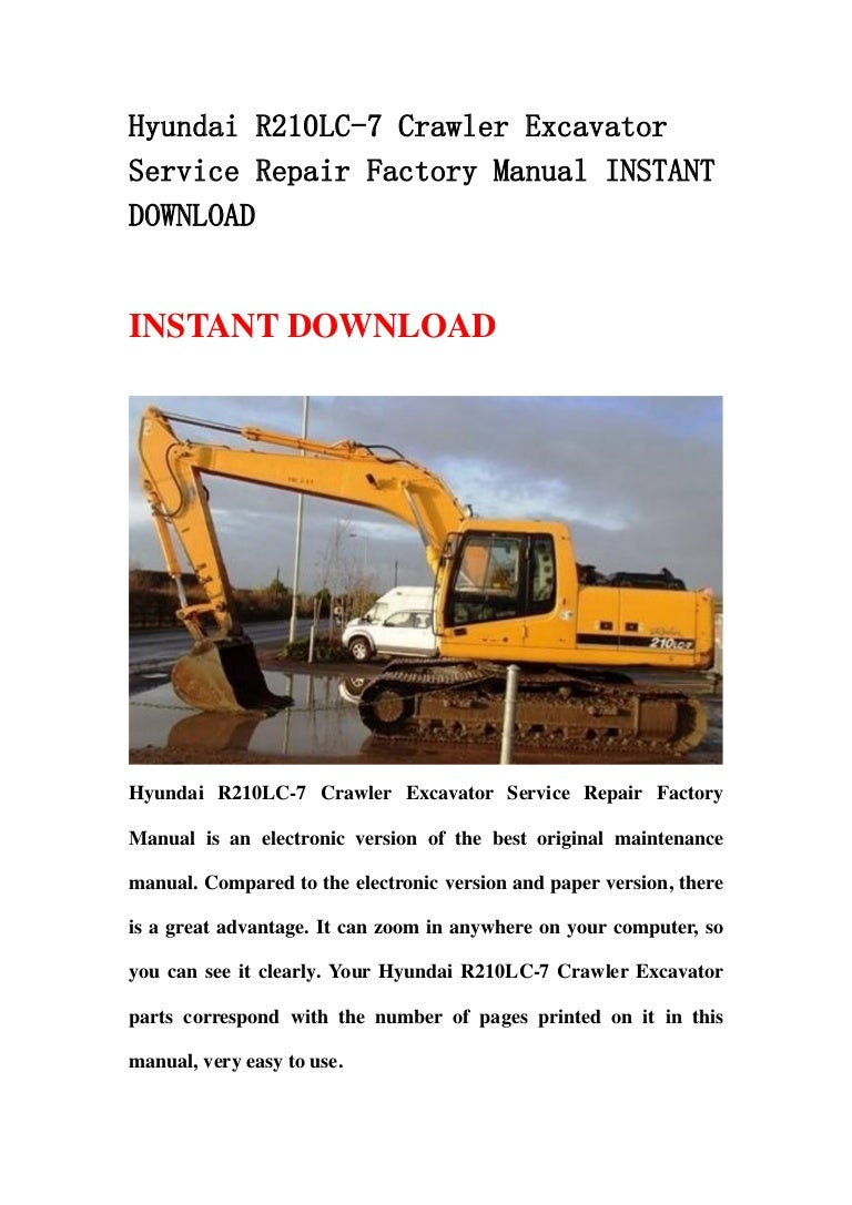 0A3005 Hyundai Crawler Excavator R160lc 7 Service Repair Manual | Wiring  Library | Hyundai 210lc 7 Wiring Diagram |  | Wiring Library