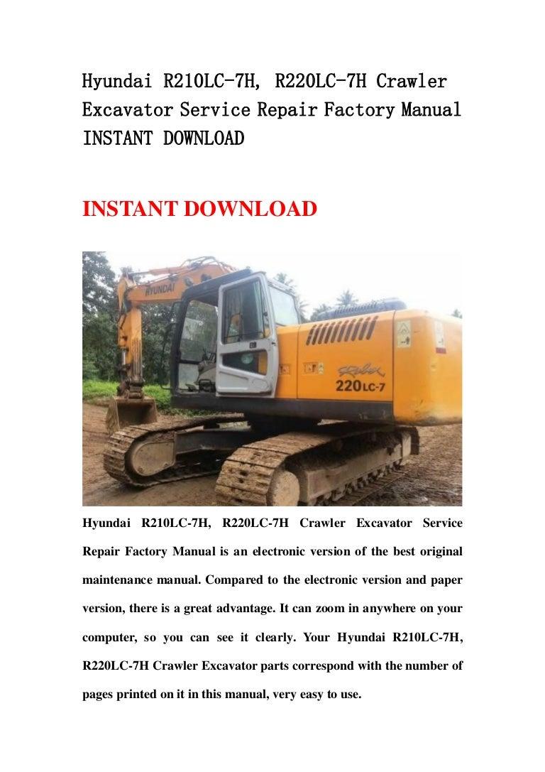 Hyundai r210 lc 7h, r220lc-7h crawler excavator service repair factor… | Hyundai 210lc 7 Wiring Diagram |  | SlideShare
