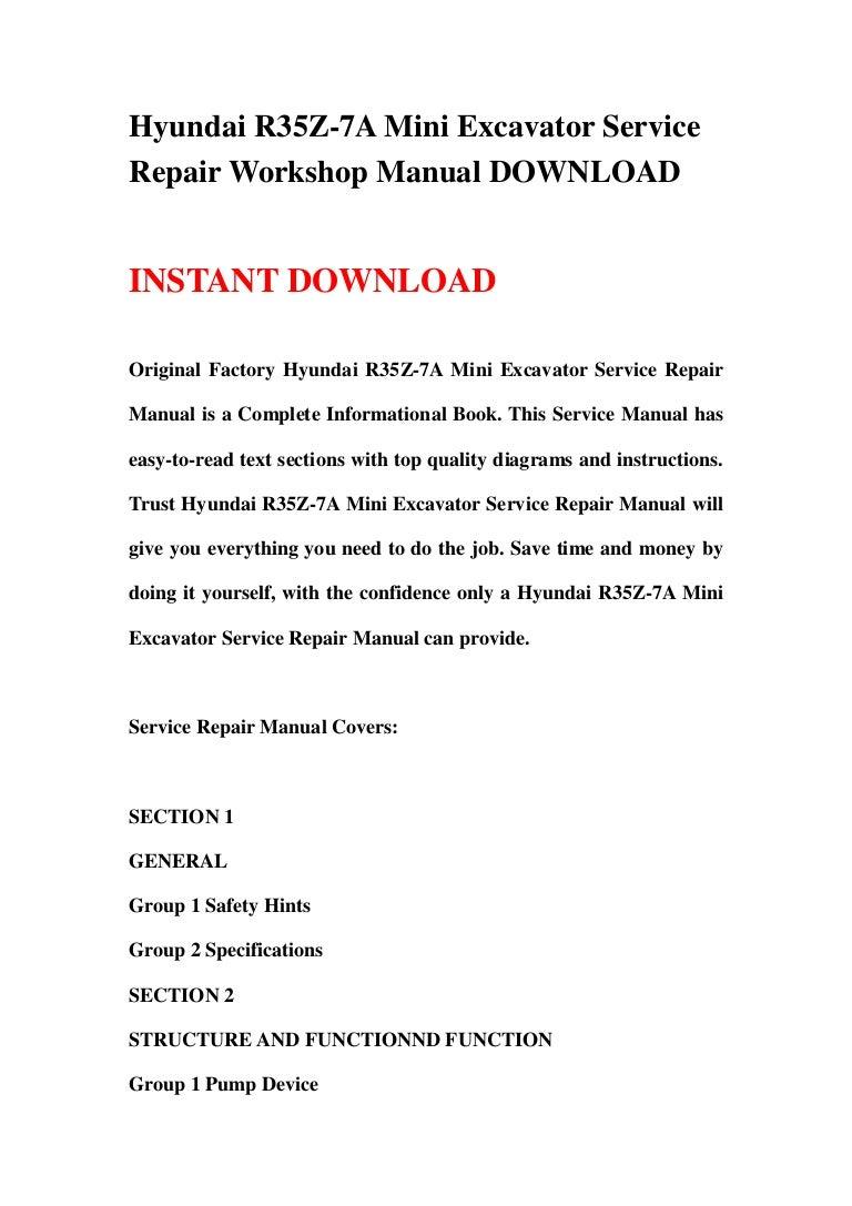 Heavy Equipment Parts & Accessories Service Shop Manual Hyundai ...