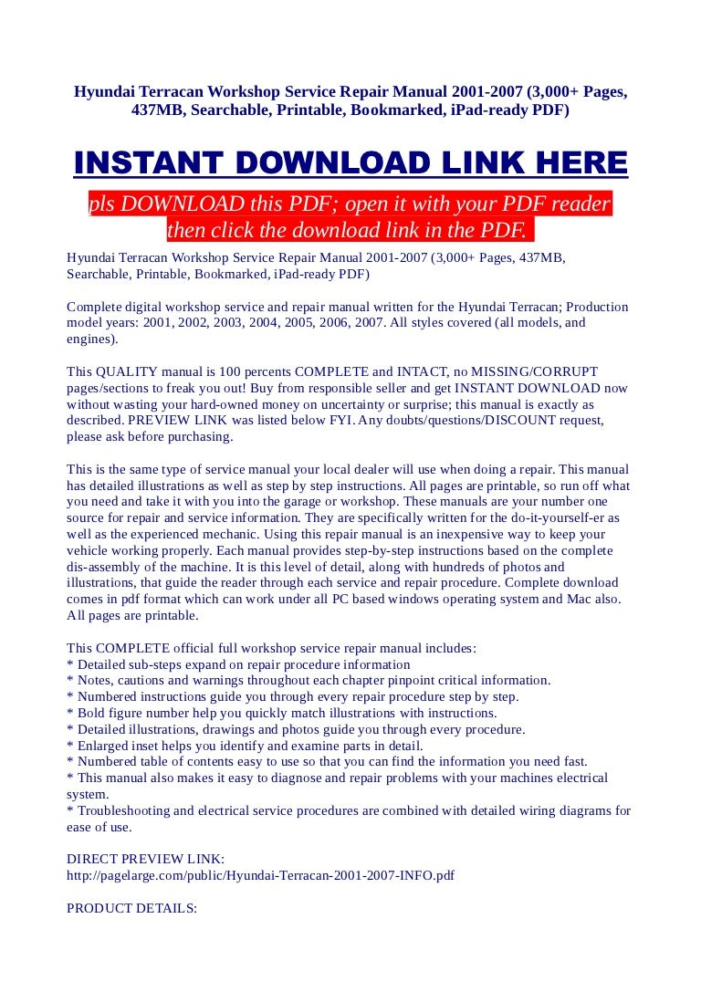 Hyundai Terracan Wiring Diagram 31 Images 2004 Mini Cooper Stereo Hyundaiterracanworkshopservicerepairmanual2001 20073000pages437mbsearchableprintablebookmarkedipad Readypdf 130128235923 Phpapp02 Thumbnail