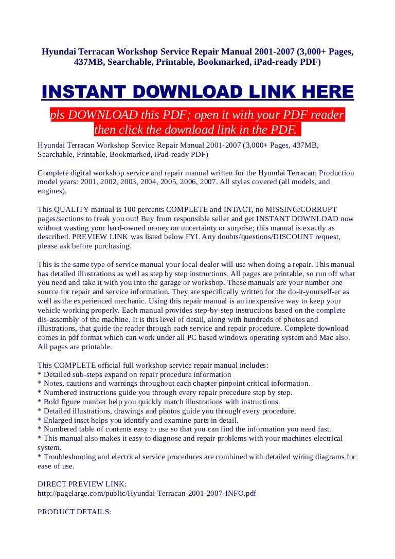 Hyundai Terracan Workshop Service Repair Manual 2001 2007 3000 Pag Parts Of A Sink Diagram Free Download Wiring Diagrams Pictures
