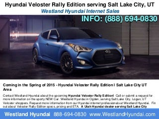 Salt Lake City NEWS - Hyundai Veloster Rally Edition - Utah