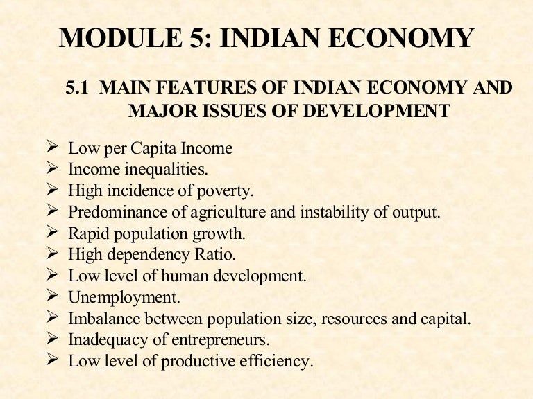 major problems of indian economy