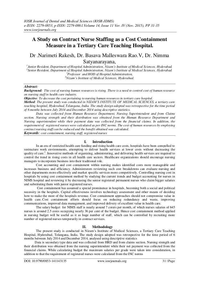 A Study on Contract Nurse Staffing as a Cost Containment