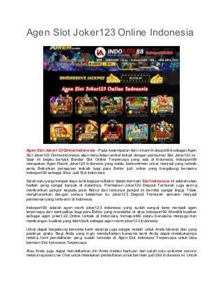 Agen Slot Joker123 Online Indonesia