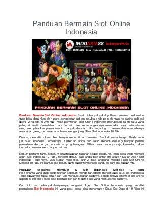 Panduan Bermain Slot Online Indonesia