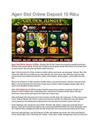 Agen Slot Online Deposit 10 Ribu - INDOSPORT99.CO