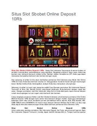 Situs Slot Sbobet Online Deposit 10Rb