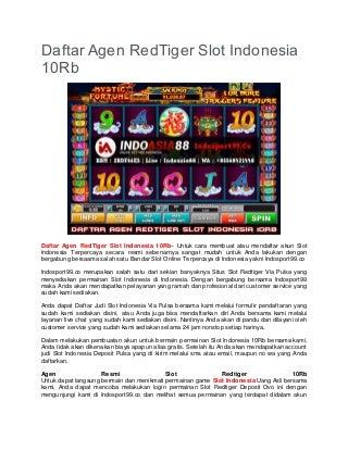 Daftar Agen RedTiger Slot Indonesia 10Rb
