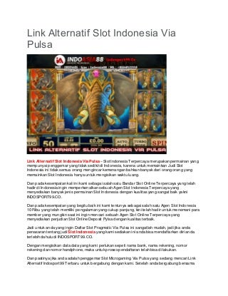 Link Alternatif Slot Indonesia Via Pulsa - INDOSPORT99.CO