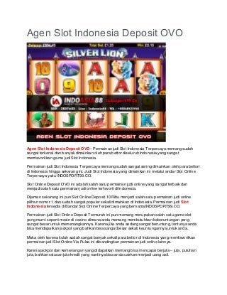 Agen Slot Indonesia Deposit OVO - INDOSPORT99.CO