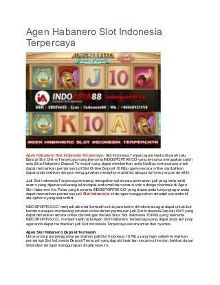 Agen Habanero Slot Indonesia Terpercaya - INDOSPORT99.CO