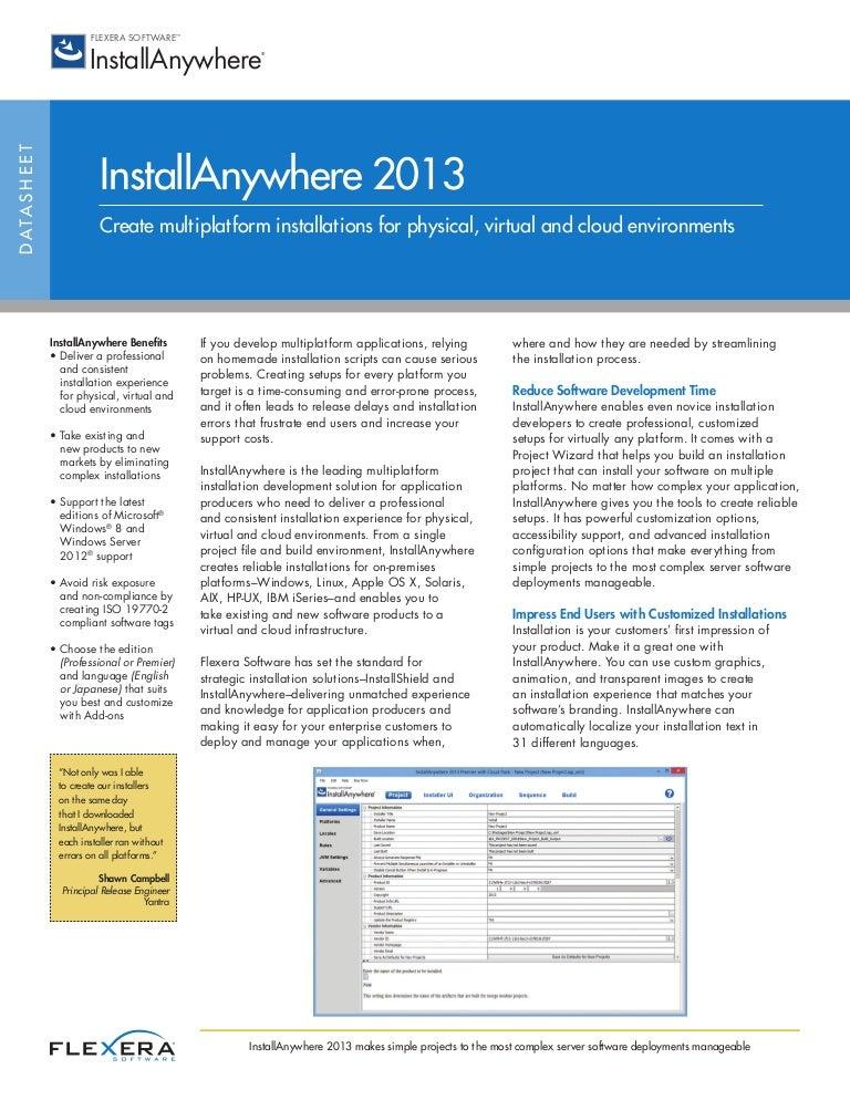 InstallAnywhere 2013 Datasheet