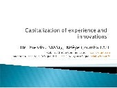 Capitalization of experiences and innovations