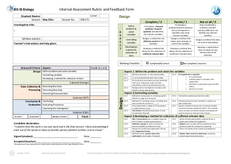 ib biology ia rubric and self assessment