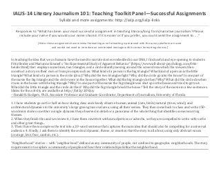 IALJS-14 Literary Journalism 101: Teaching Toolkit Panel—Successful Assignments