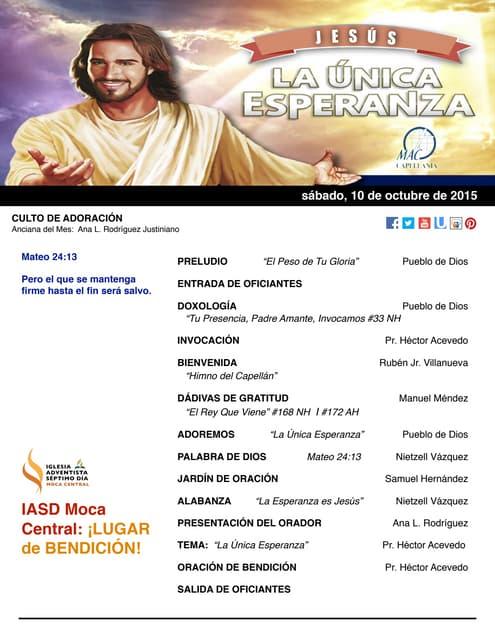 """IAMC PROGRAMA 10.OCT.2015 """"Jesús, la Única Esperanza"""""""