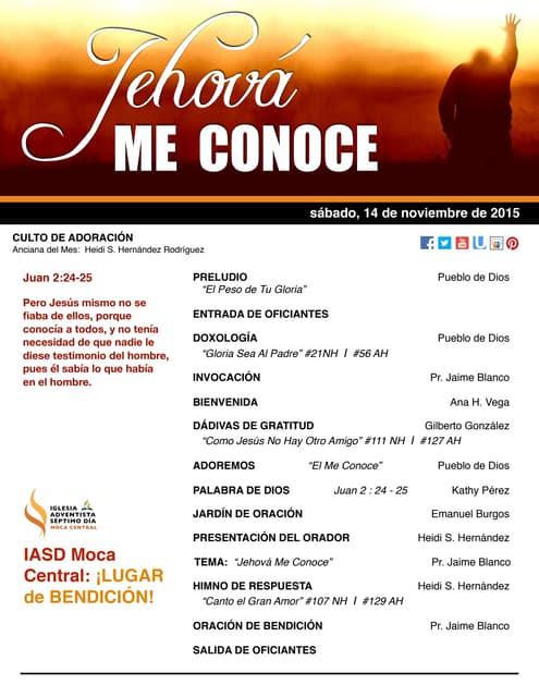 """IAMC PROGRAMA 14.NOV.2015 """"Jehová me Conoce"""""""