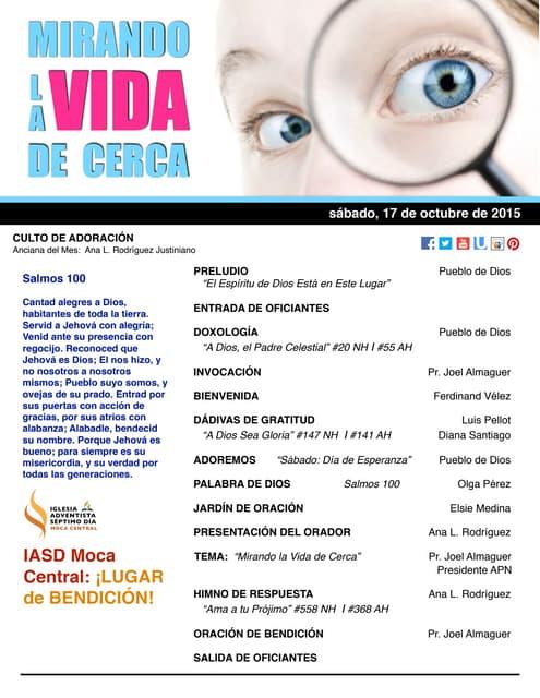 """IAMC PROGRAMA 17.OCT.2015 """"Mirando la Vida de Cerca"""""""