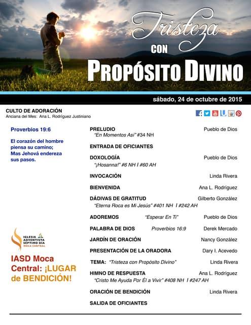 """IAMC PROGRAMA 24.OCT.2015 """"Tristeza con Propósito Divino"""""""