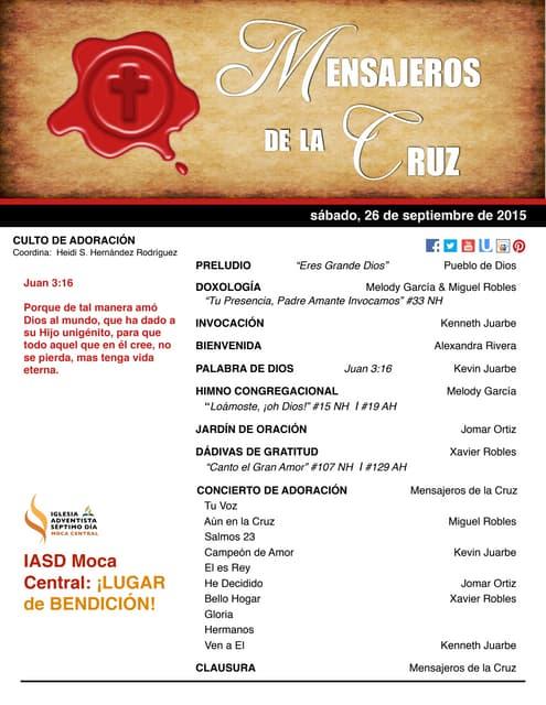 """IAMC PROGRAMA 26.SEP.2015 """"Mensajeros de la Cruz"""""""