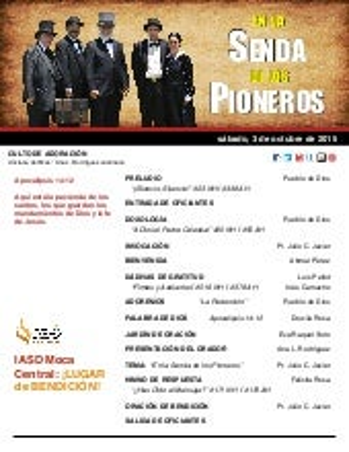 """IAMC PROGRAMA 03.OCT.2015 """"En la Senda de los Pioneros"""""""