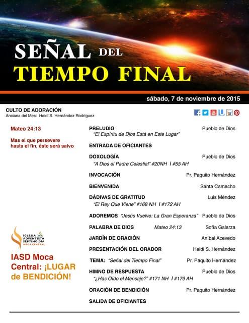 """IAMC PROGRAMA 07.NOV.2015 """"Señal del Tiempo Final"""""""