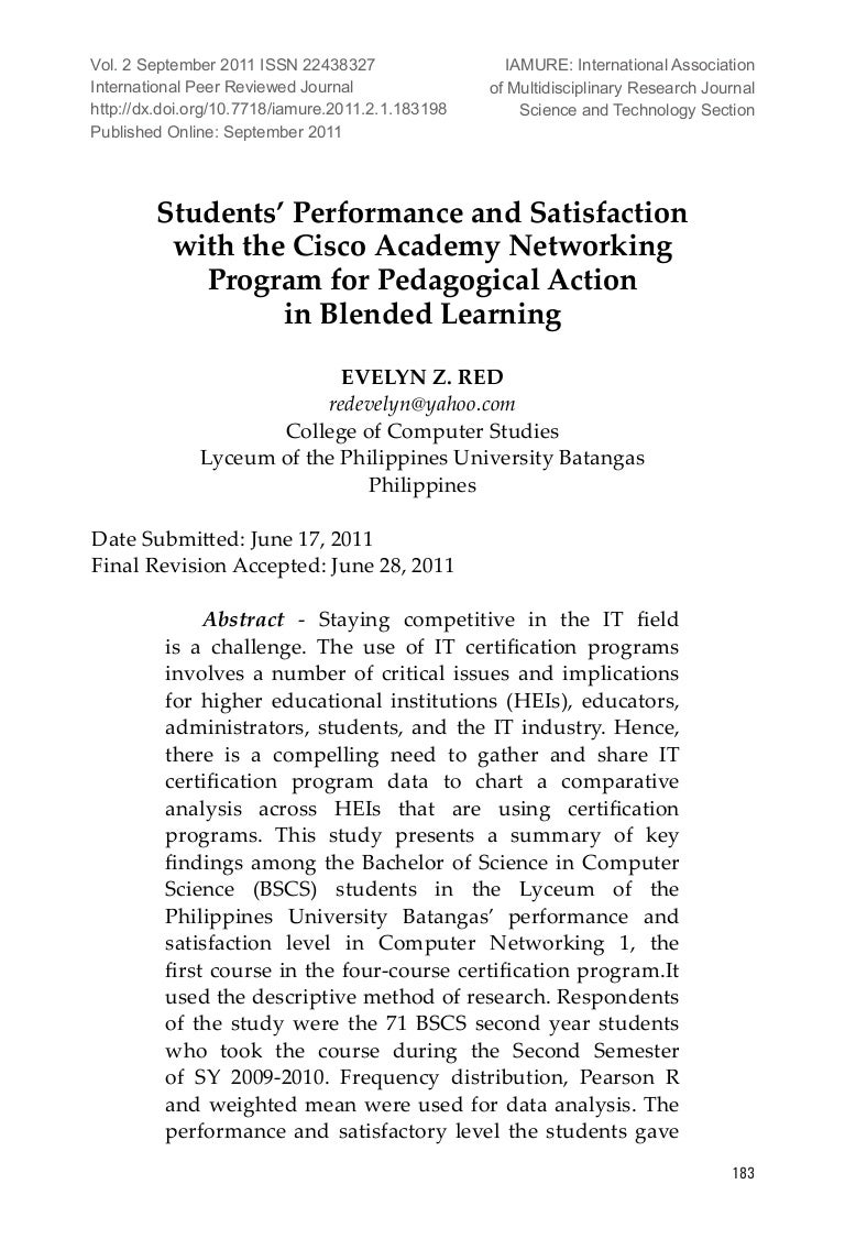 Students Performance And Satisfaction With The Cisco Academy Networ