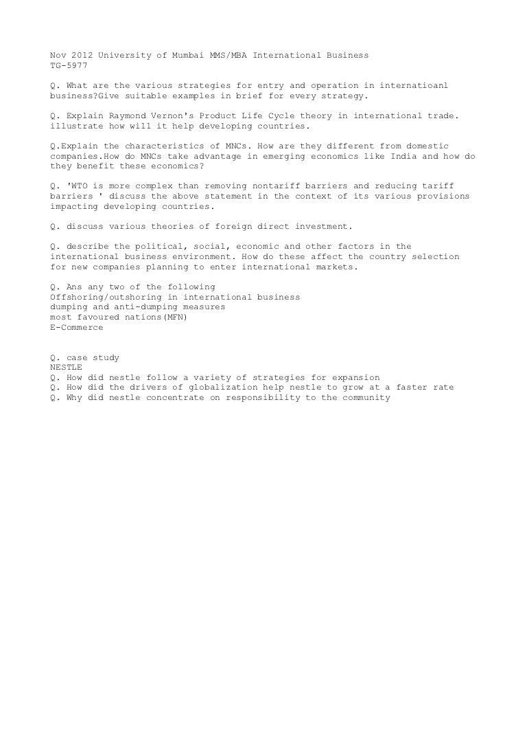 ib question paper international business mumbai university mms nov