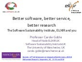 Better software, better service, better research: The Software Sustainability Institute, ELIXIR and you
