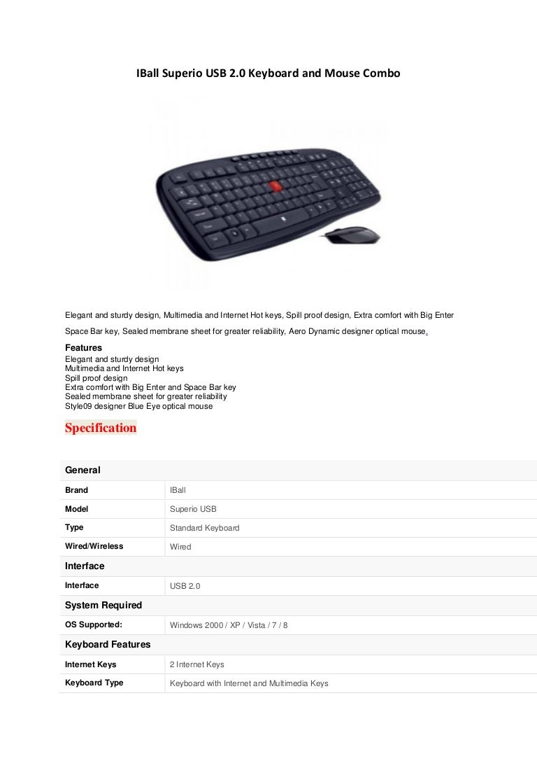 I ball superio usb 2.0 keyboard and mouse combo
