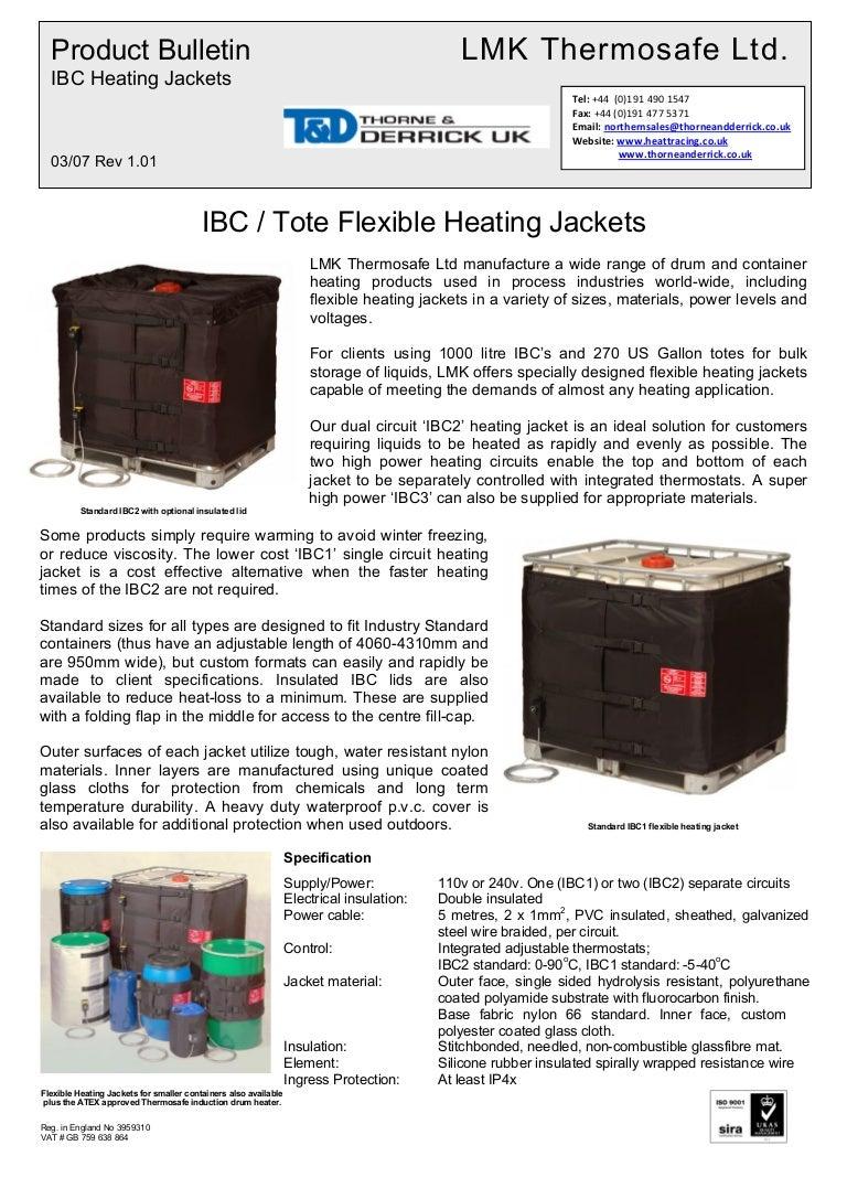 IBC3 Tote Heater Blanket, IBC Tote Heating Blanket - Spec Sheet