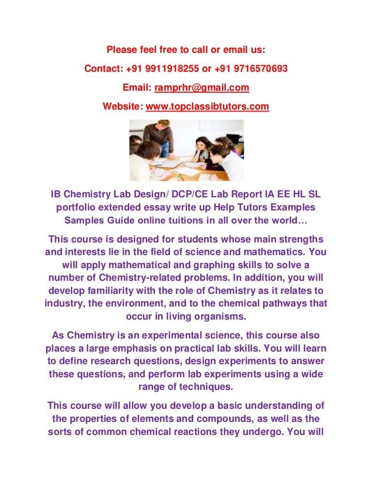 Ib Chemistry Lab Design Dcp Ce Lab Report Ia Ee Hl Sl Portfolio