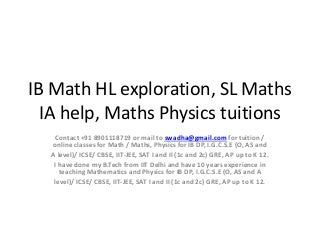 What kinds of math are involved in IB SL Mathematics?