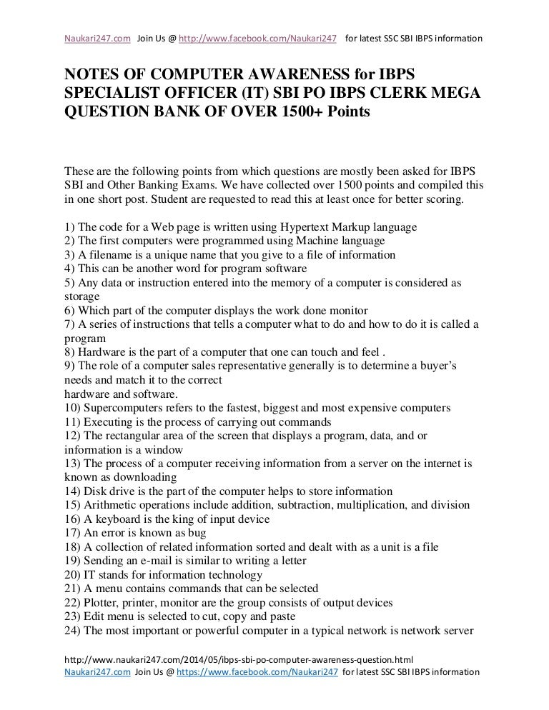 Ibps sbi po computer awareness mega question bank of 1500 questions malvernweather Images