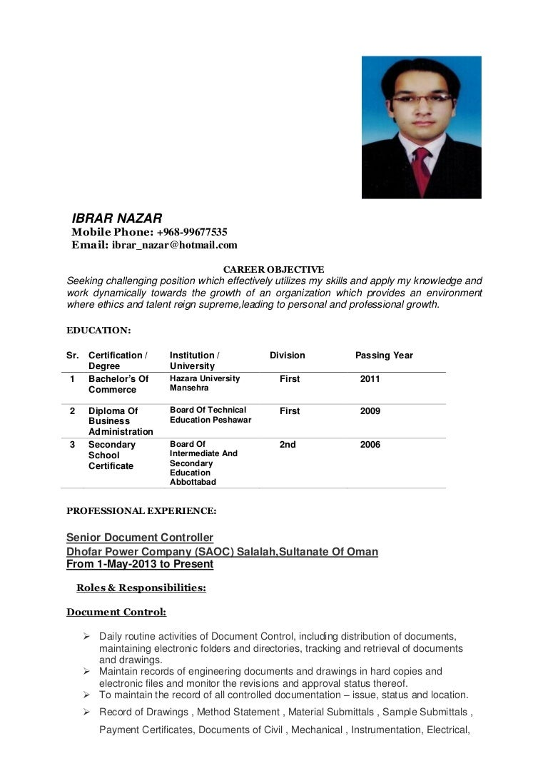 NEED JOB IN OMAN Ibrar Nazar Resume