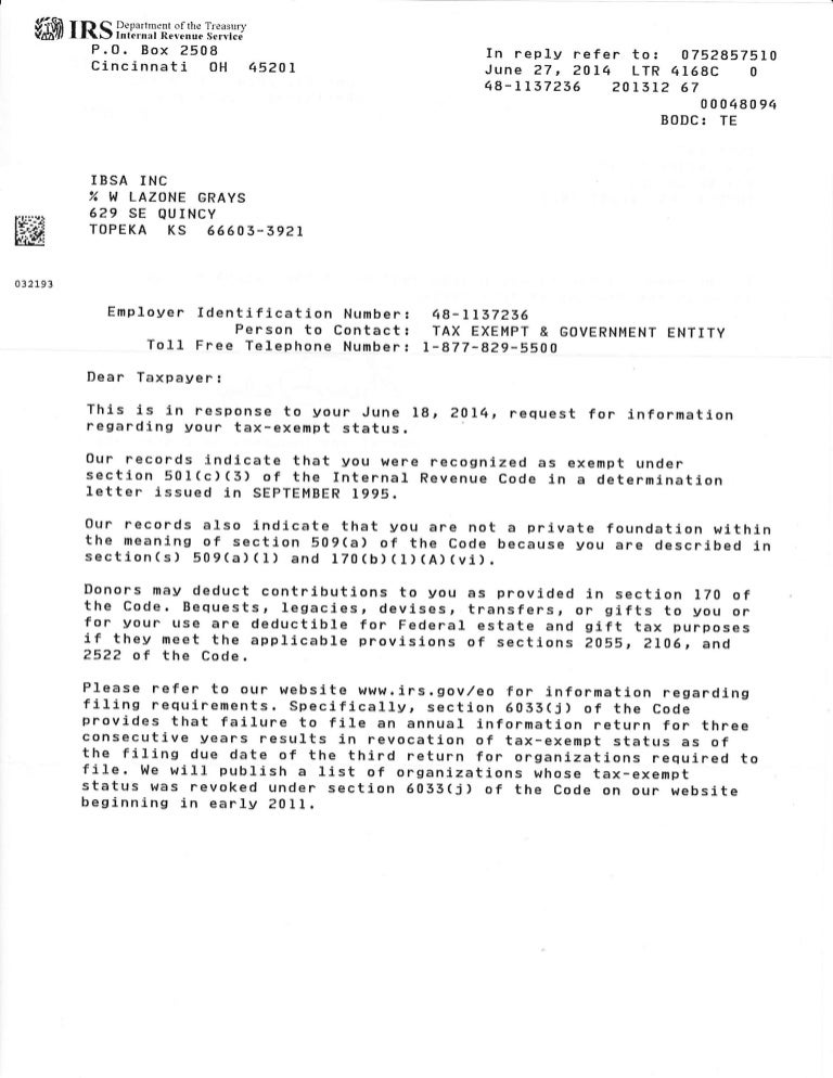 irs determination letter 2014