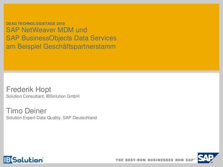 SAP NetWeaver MDM und SAP BusinessObjects Data Services am Beispiel G…