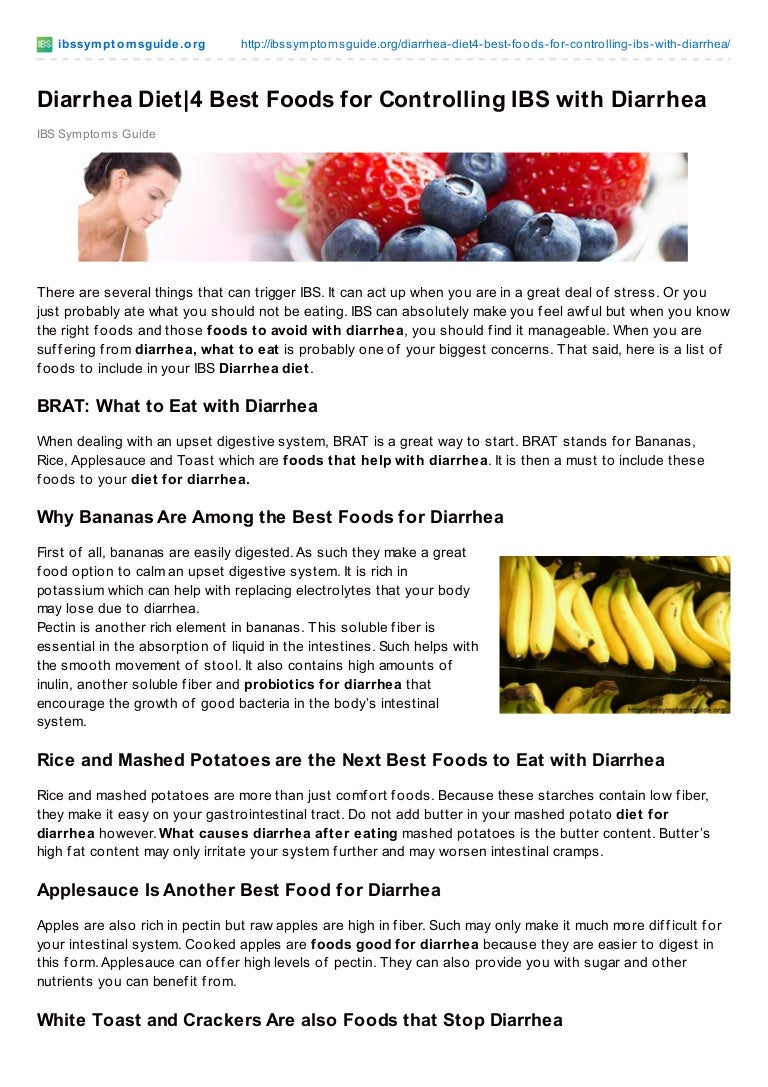 diarrhea diet. best foods fo controlling ibs with diarrhea