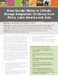 Does gender matter in climate change adaptation: Evidence from Africa, Latin America and Asia