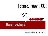 I came, I saw, I GO! - Golangit meetup @ Codemotion Rome 2014
