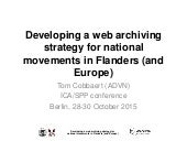 Developing a webarchiving strategy for national movements in Flanders