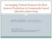 Leveraging Textual Features for Best Answer Prediction in Community-based Question Answering